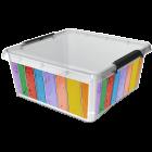 Бокс квадратный Orplast 18 л с крышкой клипсами декор цветные досточки