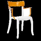 Кресло Papatya Hera-K белое сиденье, верх прозрачно-оранжевый