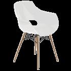 Крісло Papatya Opal-Wox біле, рама натуральний бук