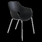Кресло Papatya Opal матовое черное, база хром