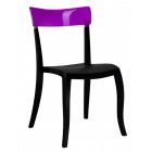 Стул Papatya Hera-S черное сиденье, верх прозрачно-пурпурный