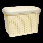 Корзина для белья под ротанг с крышкой 35 л желтая