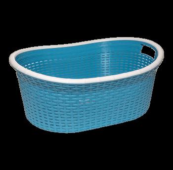 Корзина для белья овальная под ротанг 25 л синяя