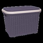 Корзина для белья под ротанг с крышкой 35 л фиолетовая