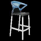 Барное кресло Papatya Ego-K черное сиденье, верх прозрачно-синий
