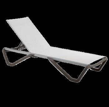 Шезлонг Papatya Wave сіро-коричневий 61, сітка біла 5001