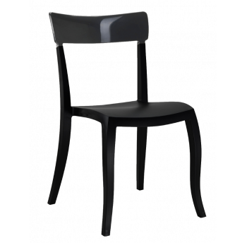 Стул Papatya Hera-S черное сиденье, верх прозрачно-дымчатый