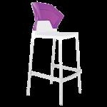 Барный стул Papatya Ego-S белое сиденье, верх прозрачно-пурпурный