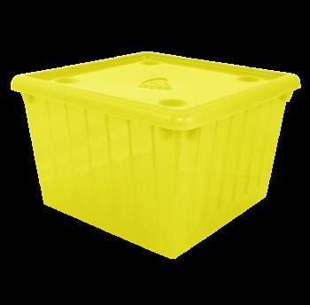 Контейнер для хранения вещей с крышкой 25л прозрачно-желтый