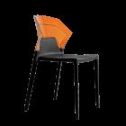 Стілець Papatya Ego-S чорне сидіння, верх прозоро-помаранчевий