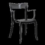Крісло Papatya Hera-K чорне сидіння, верх прозоро-димчастий