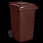 Бак для мусора на колесах с ручкой 240 л темно-коричневый