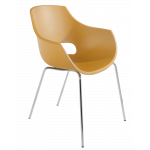 Кресло Papatya Opal матовое желтое, база хром