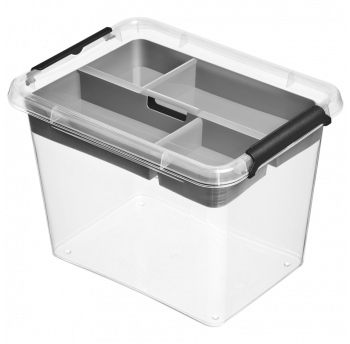 Бокс прямоугольный Orplast 2,5 л с вставкой крышкой клипсами прозрачный