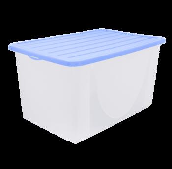 Контейнер для хранения вещей с крышкой 40л верх сиреневый, низ прозрачный