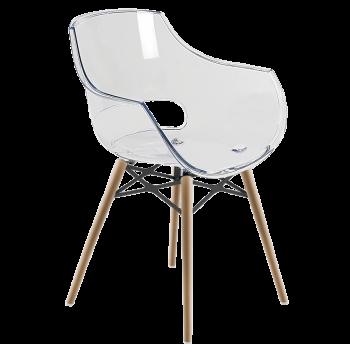 Кресло Papatya Opal-Wox прозрачно-чистое, рама натуральный бук