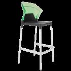 Барный стул Papatya Ego-S антрацит сиденье, верх прозрачно-зеленый