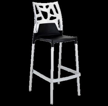 Барний стілець Papatya Ego-Rock чорне сидіння, верх прозоро-чистий