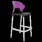Барний стілець Papatya Ego-S чорне сидіння, верх прозоро-пурпурний