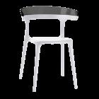 Крісло Papatya Luna біле сидіння, верх прозоро-димчастий