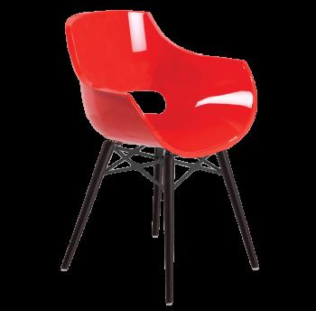 Кресло Papatya Opal-Wox красный, рама лакированный бук венге