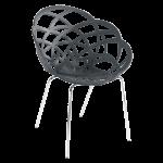 Кресло Papatya Flora-ML матовый антрацит сиденье, ножки хром