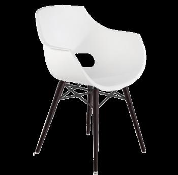 Кресло Papatya Opal-Wox матовый белый, рама лакированный бук венге