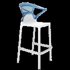 Барное кресло Papatya Ego-K белое сиденье, верх прозрачно-синий