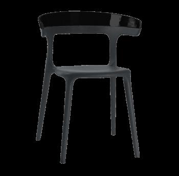 Кресло Papatya Luna черное сиденье, верх черный