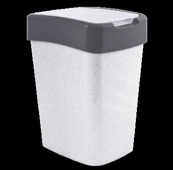 Ведро для мусора Евро 10 л двухцветное (белый флок серая вставка)