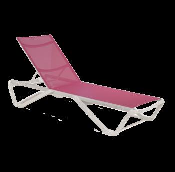 Шезлонг Papatya Wave белый 01, сетка темно-розовая 5336