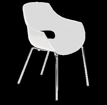 Крісло Papatya Opal матове біле, база хром