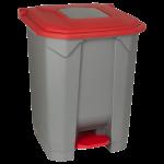 Бак для сміття з педаллю Planet 50 л сіро-червоний
