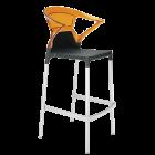 Барное кресло Papatya Ego-K черное сиденье, верх прозрачно-оранжевый