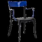 Кресло Papatya Hera-K черное сиденье, верх прозрачно-синий