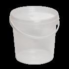 Ведро 1 л круглое с герметичной крышкой прозрачный, белый