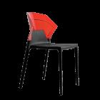 Стул Papatya Ego-S черное сиденье, верх прозрачно-красный