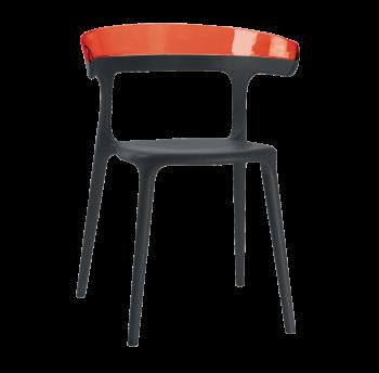 Кресло Papatya Luna черное сиденье, верх прозрачно-красный