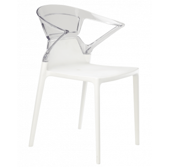 Крісло Papatya Ego-K біле сидіння, верх прозоро-чистий
