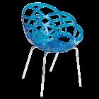 Крісло Papatya Flora-ML прозоро-синє сидіння, ніжки хром