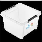 Бокс квадратный Orplast 25 л с крышкой клипсами прозрачный