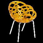 Крісло Papatya Flora-ML прозоро-жовте сидіння, ніжки хром