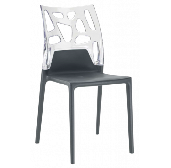 Стілець Papatya Ego-Rock антрацит сидіння, верх прозоро-чистий