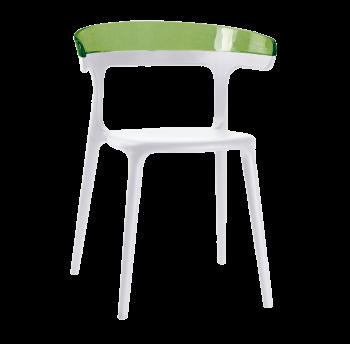 Крісло Papatya Luna біле сидіння, верх прозоро-зелений