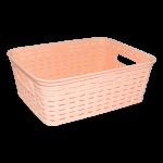 Корзина для белья под ротанг декорированная оранжевая