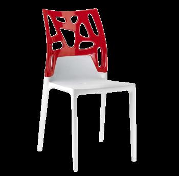 Стілець Papatya Ego-Rock біле сидіння, верх червоний
