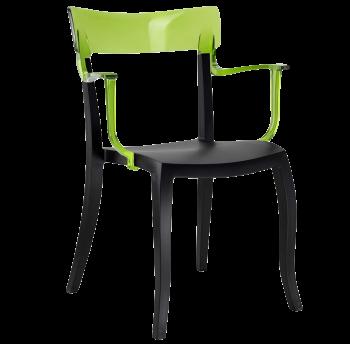 Кресло Papatya Hera-K черное сиденье, верх прозрачно-зеленый
