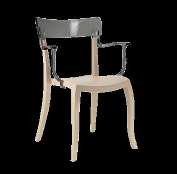 Крісло Papatya Hera-K пісочно-бежеве сидіння, верх прозоро-димчастий