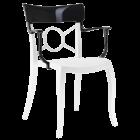 Крісло Papatya Opera-K сидіння біле, верх чорний