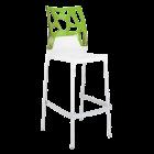 Барний стілець Papatya Ego-Rock біле сидіння, верх прозоро-зелений